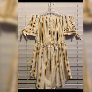 Dresses - Off the Shoulder Striped Dress